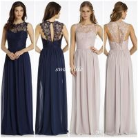 New Design Lace Bridesmaid Dresses Long Navy Blue Chiffon ...