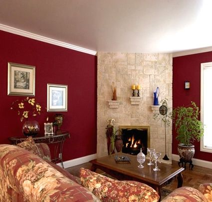 Rooms with Burgundy Color Schemes Ava Living Kitchen With Wine - paint schemes for living rooms