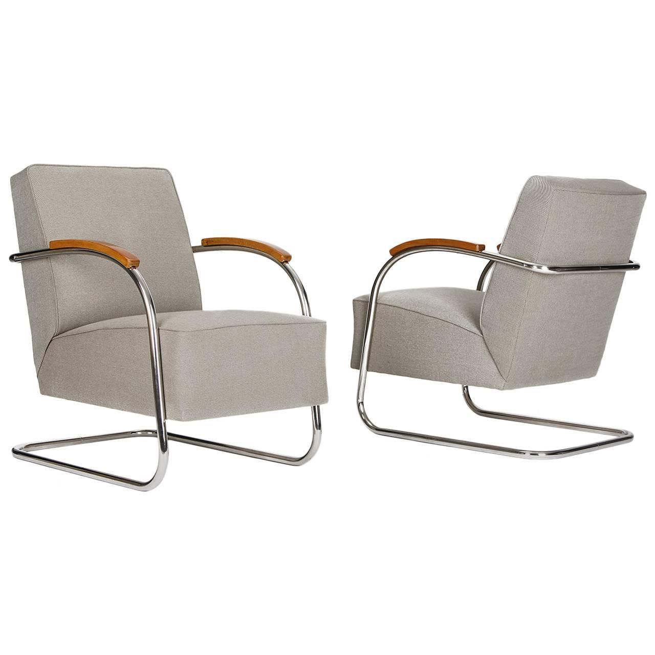 Pair of cantilever tubular steel chairs czech bauhaus by m cke melder 1930s