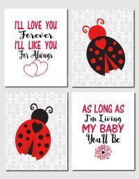 Ladybug Nursery Art, Baby Girl Nursery, Kids Wall Art, I ...