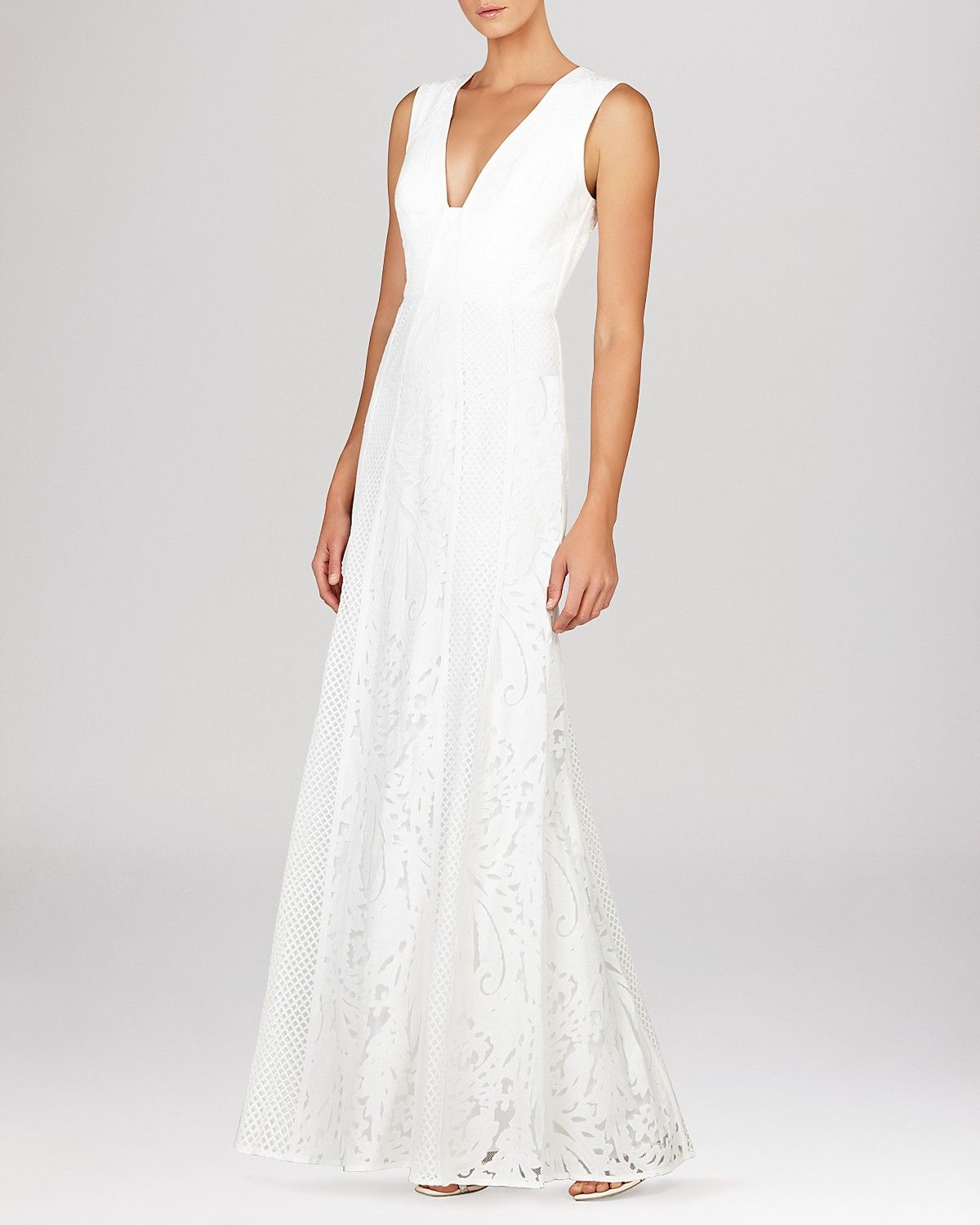 bloomingdales wedding dresses BCBGMAXAZRIA Gown Elisia Sleeveless V Neck Lace Bloomingdale s Wedding