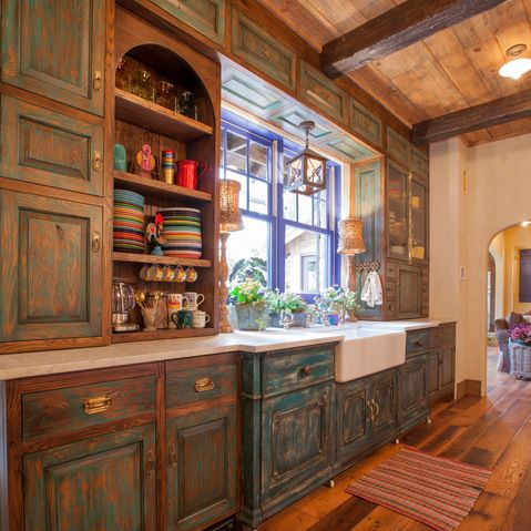 Mexican Style Kitchen Design (with pewter pulls and hammered - mexican kitchen design