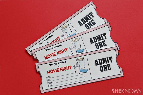 DIY tickets for movie night - create your own movie ticket