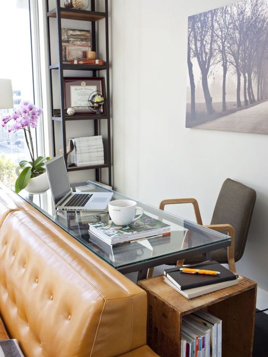 10 Perfect Living Room Home Office Nooks Short on Space but Not - desk in living room