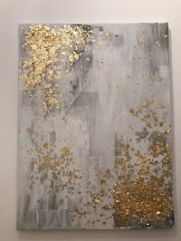 Light grey and gold leaf abstract painting by ...