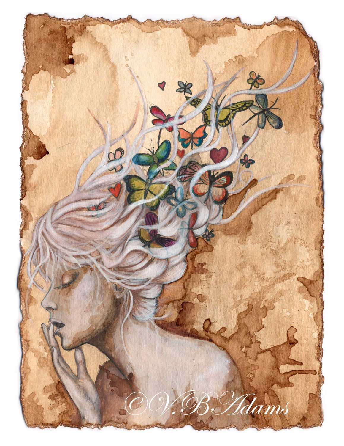 Coffee Art Etsy Coffee Painting Girl With Butterflies And Dragonflies