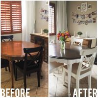 Refinished Dining Table Tutorial: Stained and painted ...