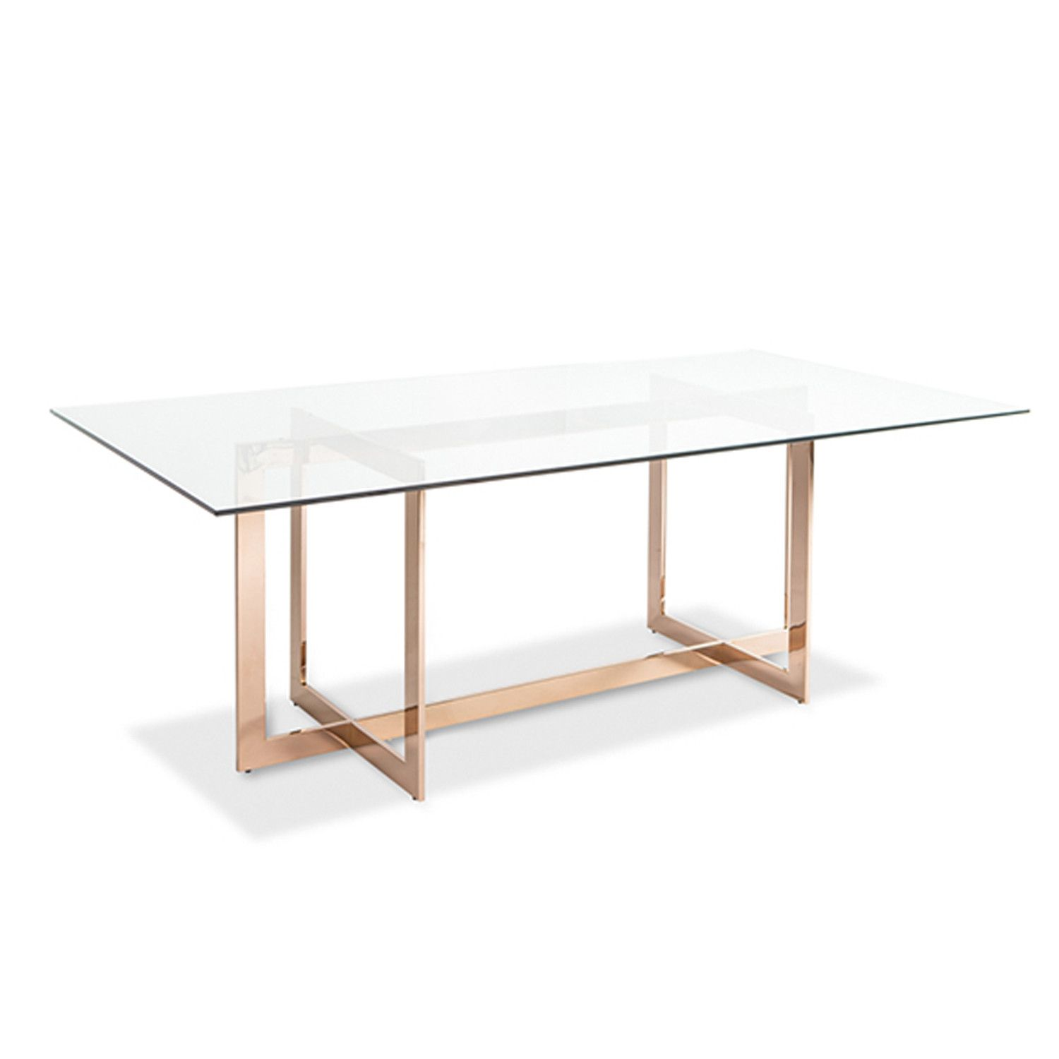 Modern Glass Table Carmelina Dining Table Rose Gold Unique Modern And