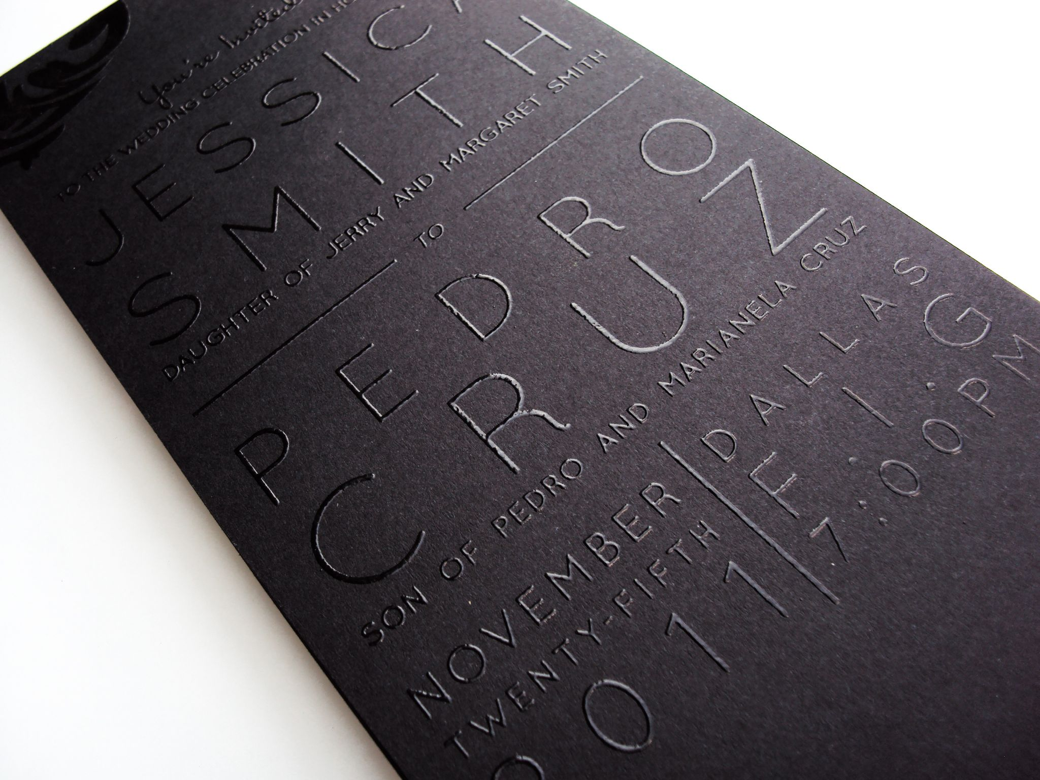 wedding invitations printing Monochromatic black ink on matte black paper THERMOGRAPHY PRINTED wedding invitations repinned on