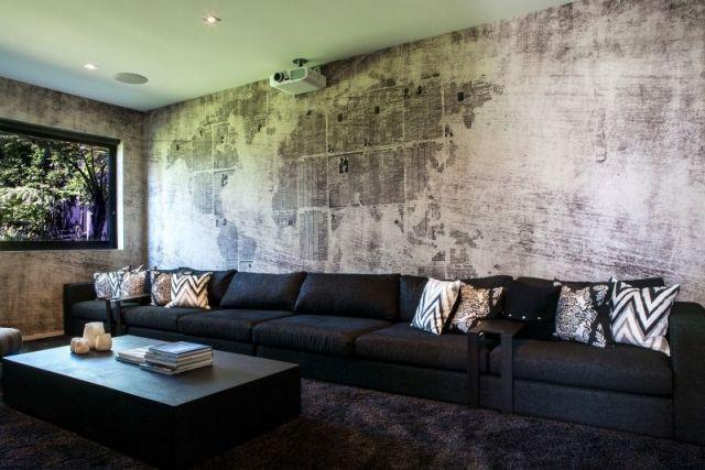 Wanddesign Ideen wohnzimmer-trends Beton-raue optik-weltkarte - wanddesign streichen