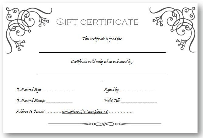 Gift Certificate Template Beautiful Printable Gift Certificate - gift certificate template pages