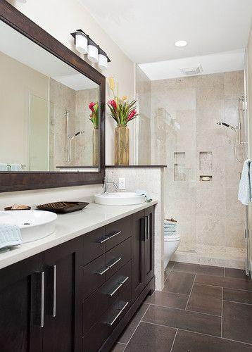 Long and Narrow guest bath - eclectic - bathroom - other metro - narrow bathroom ideas