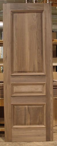 Solid Walnut door, 3 panel with raised panels and applied ...