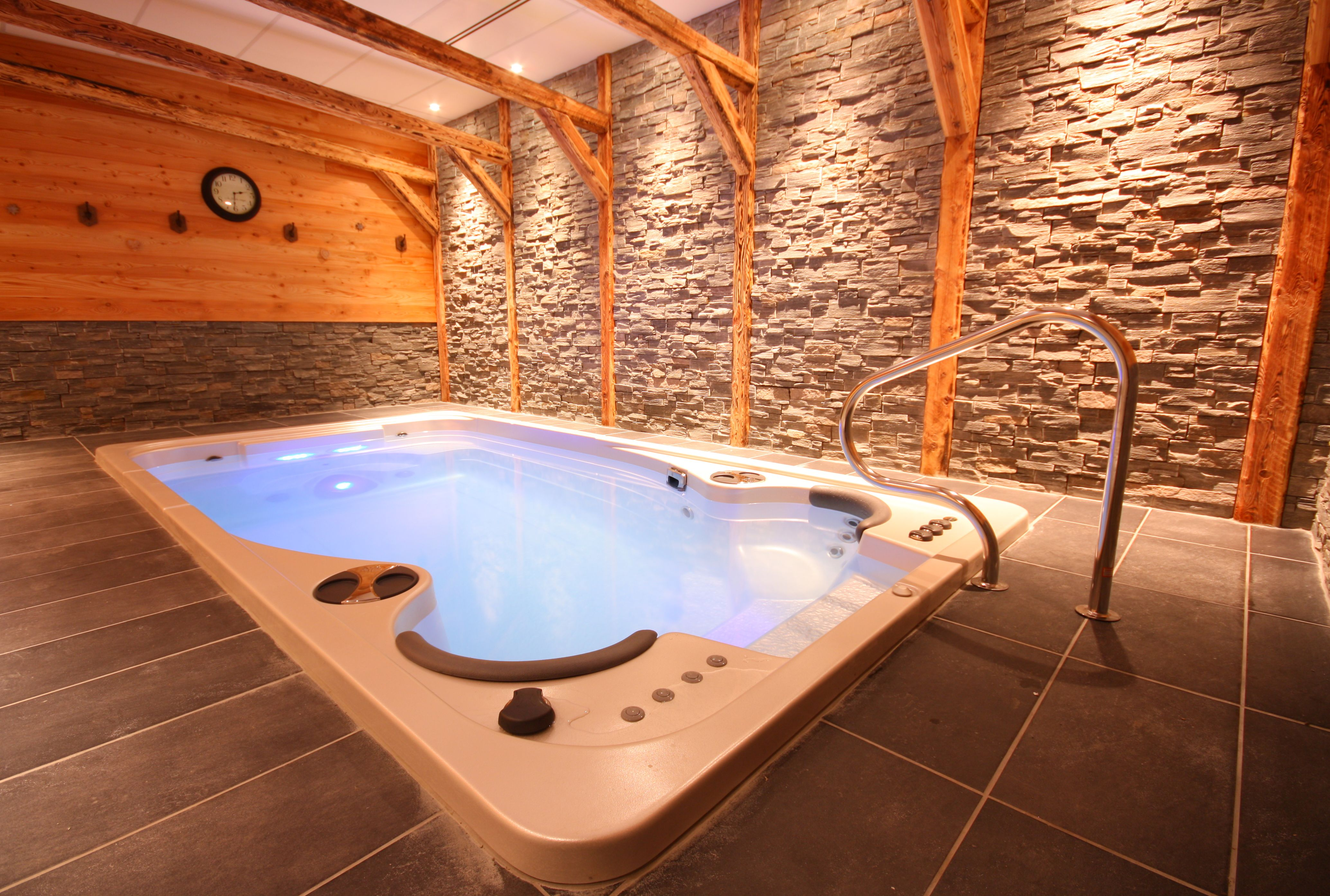 Jacuzzi Pool De Hydropool Self Cleaning Swim Spa Installed Indoors Pool