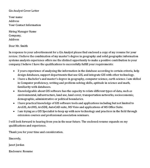 Gis Analyst cover letter sample, geographic information systems - cover letter information