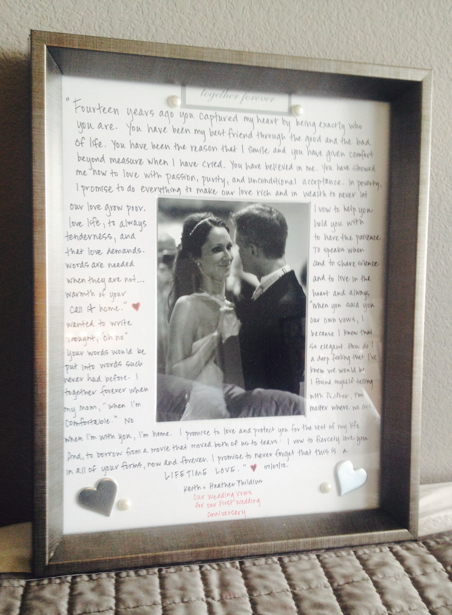 first wedding anniversary gift First wedding anniversary gift to my husband our vows written out