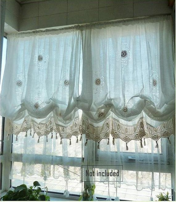 Sale Shabby Chic Drawnwork Balloon Curtains, Pull-up Curtains - balloon curtains for living room