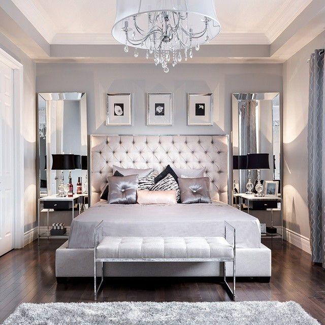 Beautiful Bedroom Decor Tufted Grey Headboard Mirrored - grey bedroom ideas
