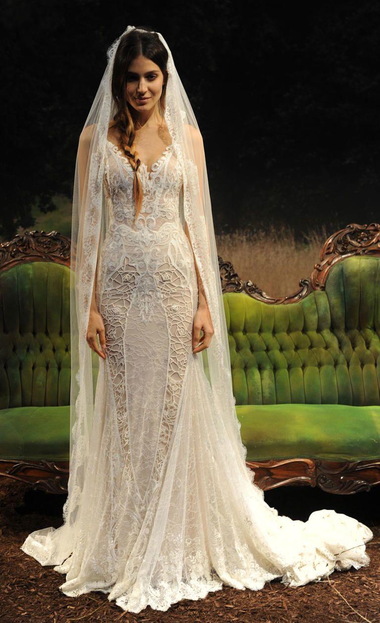 wedding dress corset top Gala by Galia Lahav spring summer wedding dress with sheer corset top and tight skirt