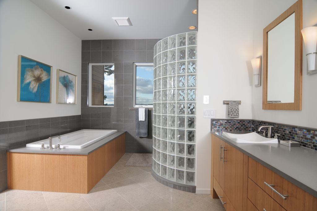 Modern Master Bedroom With Dove Solid Surface Countertop, Corian    Badezimmer Corian