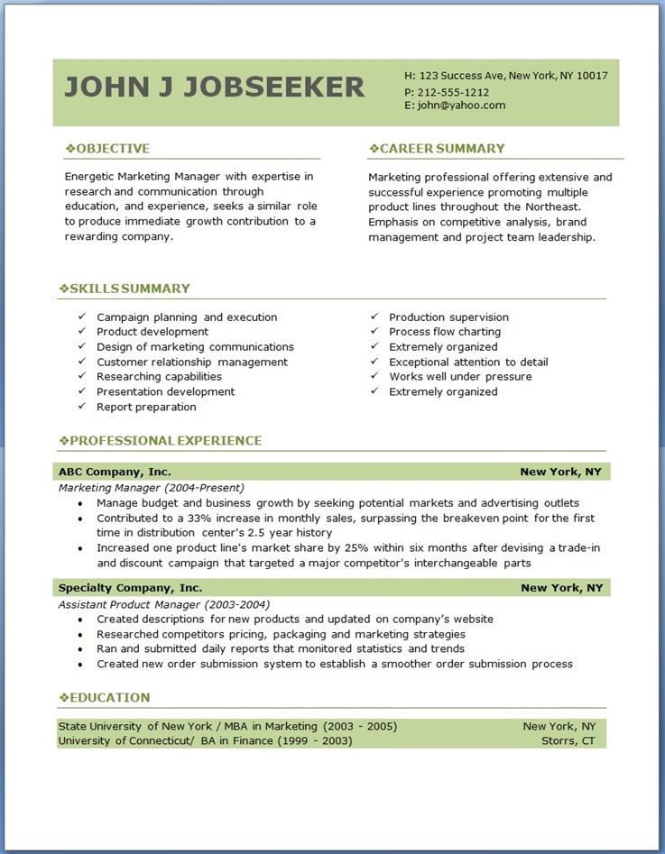 free professional resume templates download Good to know - best professional resume template