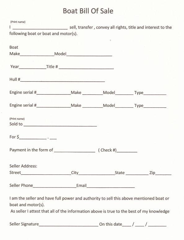 Free Printable Bill Sale Form sale - http\/\/wwwrc123 - boat bill of sale template