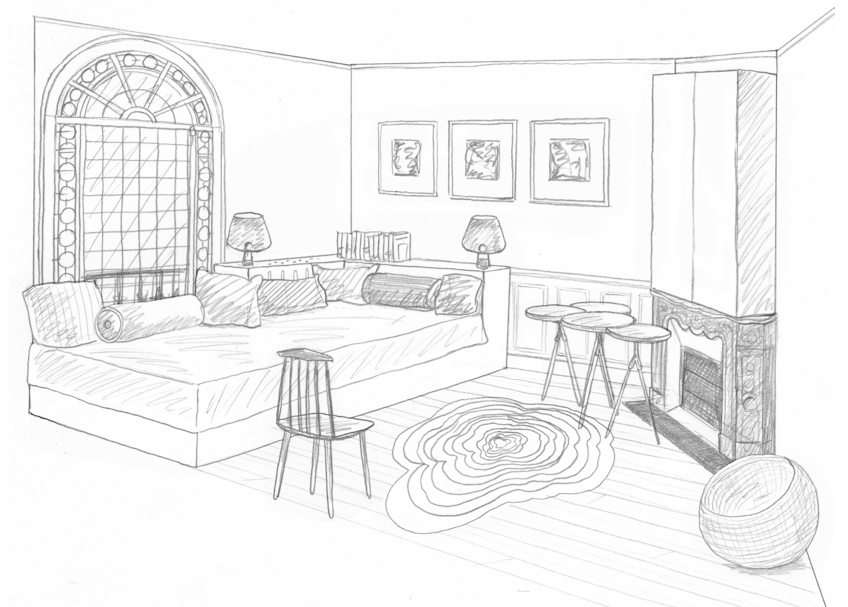 Chambre D Appoint Dessin Chambre D'appoint Rdc | Interior Perspective