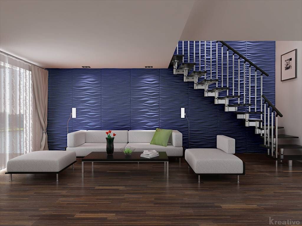Zimmer Tapete Living Room Under Stairs With Blue Wall 3d Wallpaper Cool