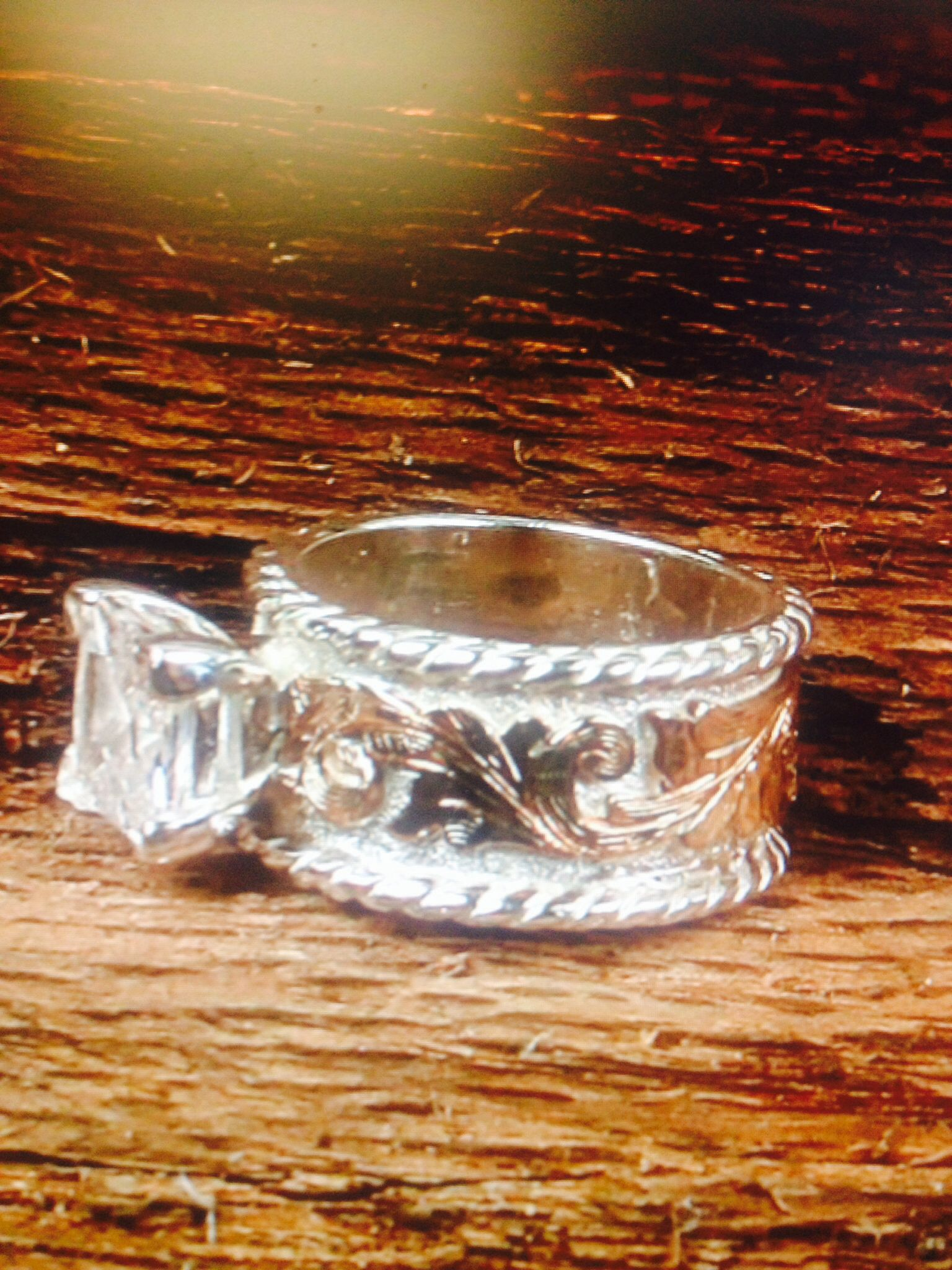 vitalium wedding band Western wedding ring Fanning Jewelry