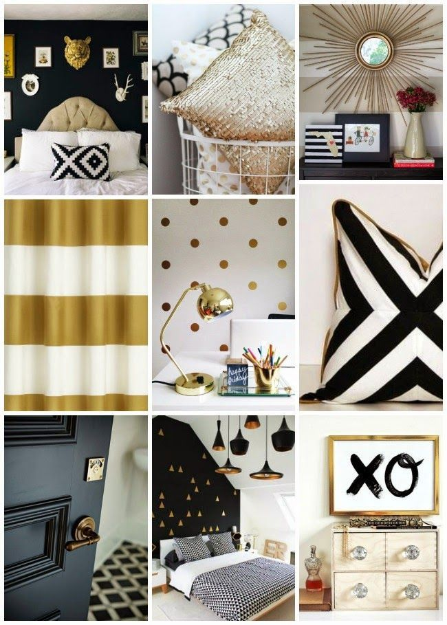 Pretty Perfect Living Black White and Gold - http\/\/centophobe - black and gold bedroom decorating ideas