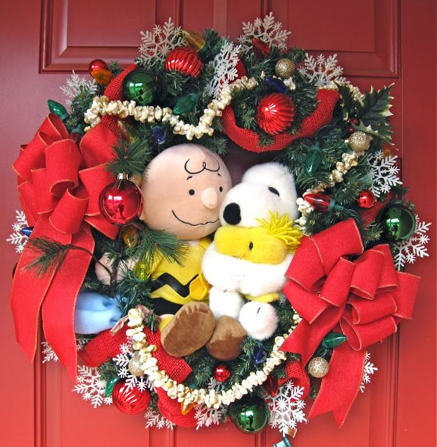 Charlie Brown and Snoopy Christmas wreath A Charlie Brown - peanuts outdoor christmas decorations