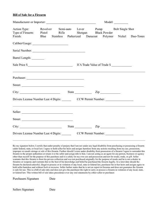 Standard Bill of Sale Form Purchasing a firearm via private - gun bill of sale