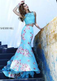 Sherri Hill 32073 - Blue Floral Print 2-Piece Prom Dresses ...