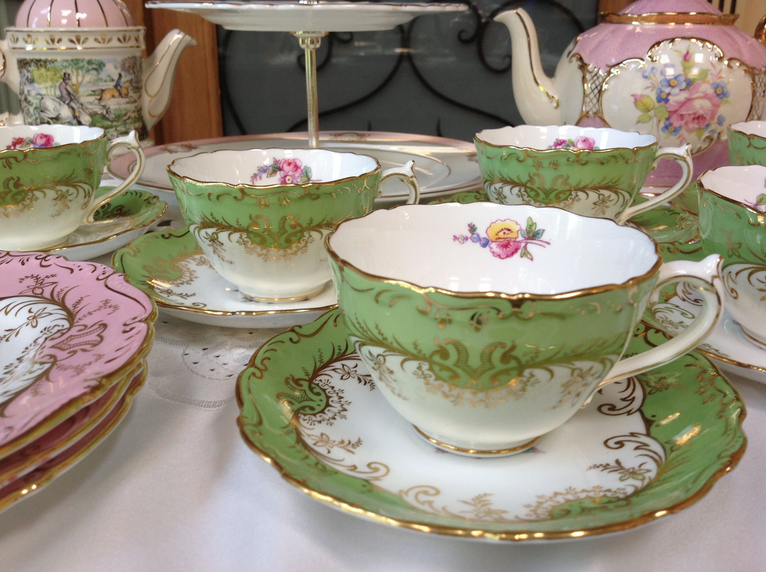 Tea Mugs For Sale Coalport Sandringham Green Vintage China Tea Cups And