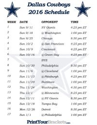 Printable Dallas Cowboys Schedule - 2016 Football Season ...