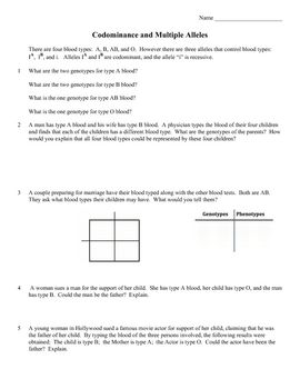 Genetics Practice Problems: Codominance and Multiple Alleles | Worksheets, Genetics and Life science