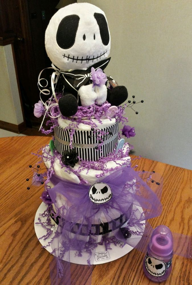 Diaper Cake Nightmare Before Christmas SkellinGToN FaBuLouS Baby - nightmare before christmas baby shower decorations