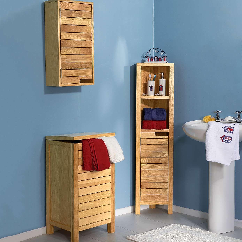 Milan oak slatted tall corner unit dunelm oak bathroom furniturebathroom