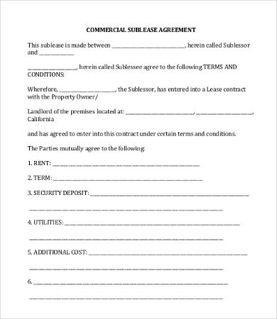 Commercial Sublease Agreement Template , 11+ Simple Commercial - sublease agreement
