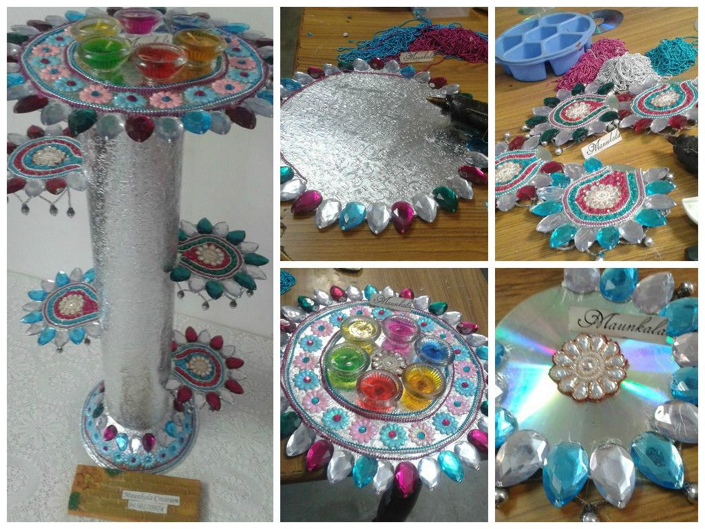 Diwali Decoration Ideas And Crafts Diy A Stand Or Flower Vase From Old Cd Old Cds Flowers