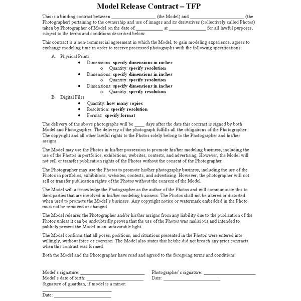 This photography article describes the TFP ( - photography contracts