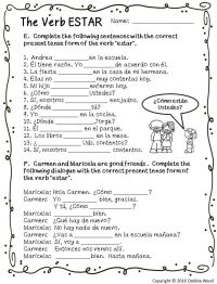 Spanish Verb ESTAR Posters and Worksheets/ Classroom Dcor ...