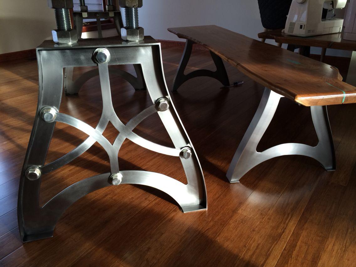 Handcrafted vintage industrial steampunk metal legs live edge american elm wood slab table top
