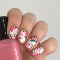 Coral and Yellow Floral Nails   Floral Nails and Makeup ...
