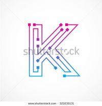 Abstract letter K logo design template,technology ...