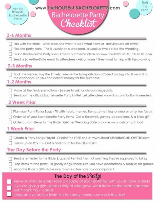 A girls guide to throwing a bachelorette party How To Plan A - bridal shower checklist