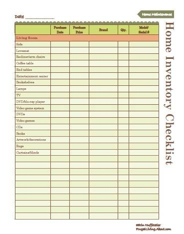 Use This Free Printable to Create an Inventory of Your Home Home - creating checklist
