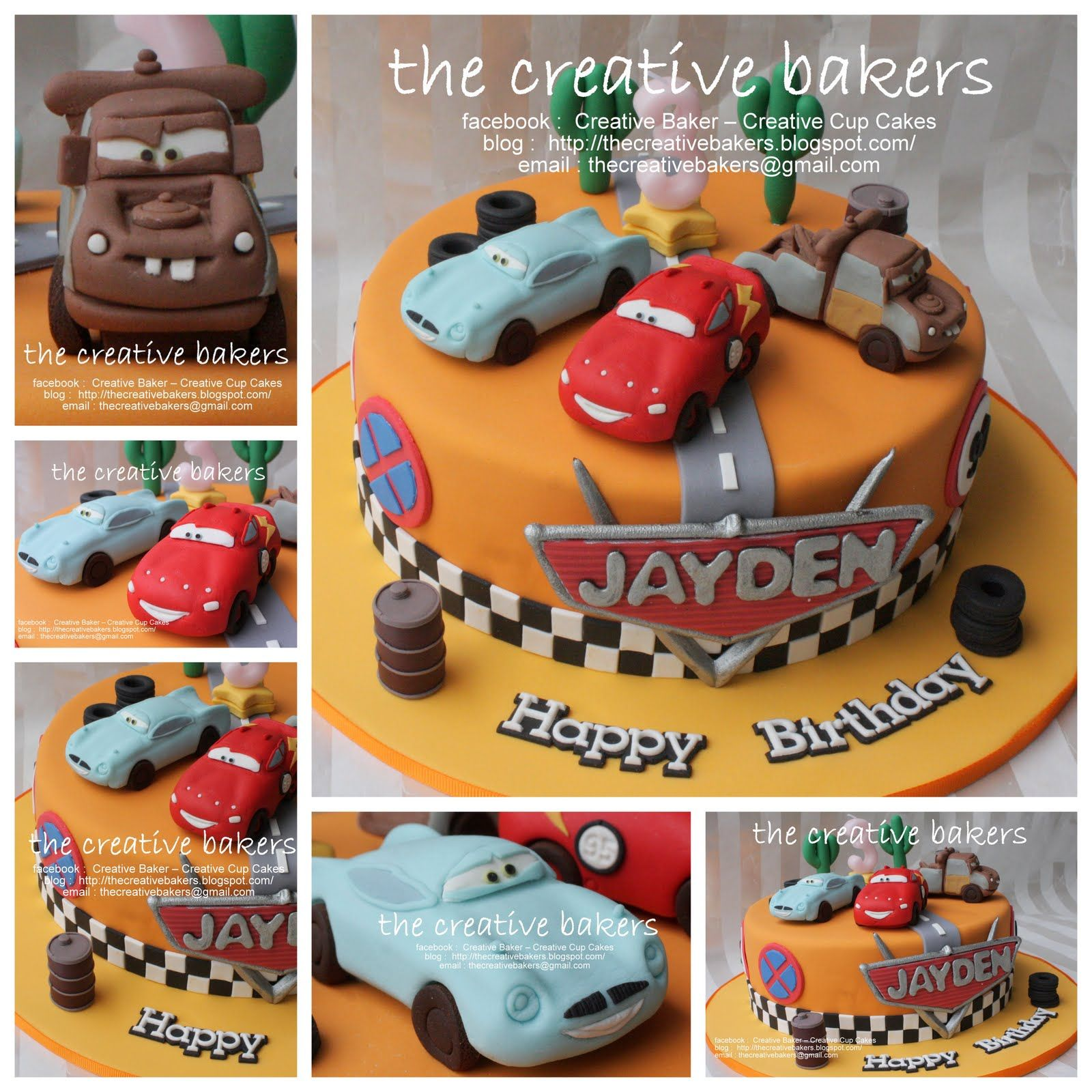 Cars 2 theme cake with lightning mcqueen mater finn mcmissile