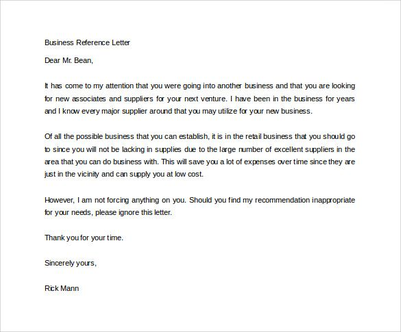 business reference letter sample has the apt format and content - letter of reference sample