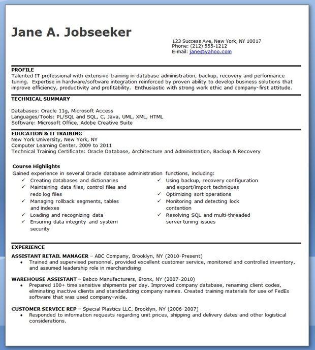 Database Administrator Resume Entry Level Creative Resume Design - sample database administrator resume